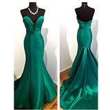 High Quality Hunter Green Mermaid Prom Dresses 2020 Long Formal Party Dresses Sweetheart Satin Women Evening Gown LP8802