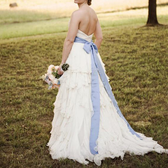 WD5539 Sweetheart Tiered Chiffon Beach Wedding Dress with Blue Belt Bridal Gown Summer Backless 2018
