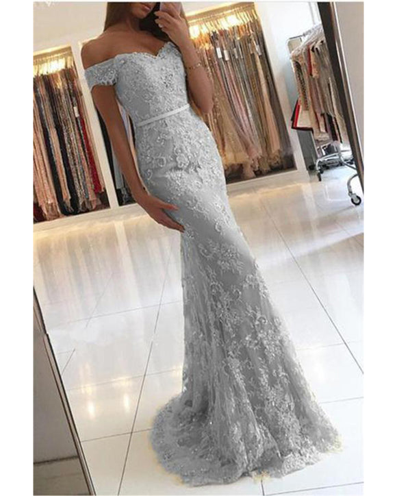 Mermaid Lace Silver Gray Prom Dresses Long Lace Gown PL3622