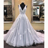 Dreamy Light Grey A Line Prom Dresses Deep V neck Lace Formal Girls Dresses Evening Long Gown