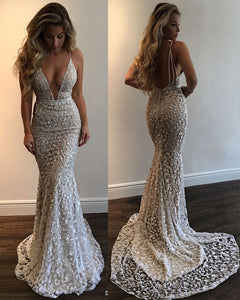 Sexy Lace Flowers Deep V-Neck Mermaid Fitted Prom Evening Gown Spaghetti Straps Women Party Dresses PL7700
