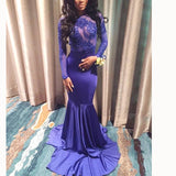 Royal Blue Mermaid Lace Long Sleeves Evening Dresses for Women,Formal Prom Gown