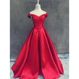 Elegant Off the Shoulder A Line Satin Red Prom Dress Long Formal Gown Vestido De Festa LP719