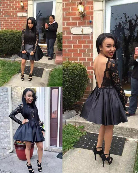 Africa Short Prom Dress Black A Line Lace with Long Sleeves Short Party Dresses Evening Wear