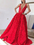 Red A Line Flowers Prom Gown Girls Long Outfit PL3365