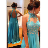 LP366 New Turquoise Prom Dress Long ,High Neck 2018 Formal Wear Evening Party Gowns