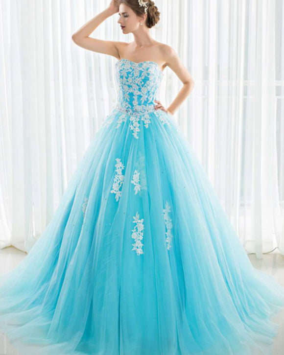 Turquoise Blue Sweetheart Ball Gown Wedding  Engagement Dress Evening Party Prom Gown with ivory Lace WD01211