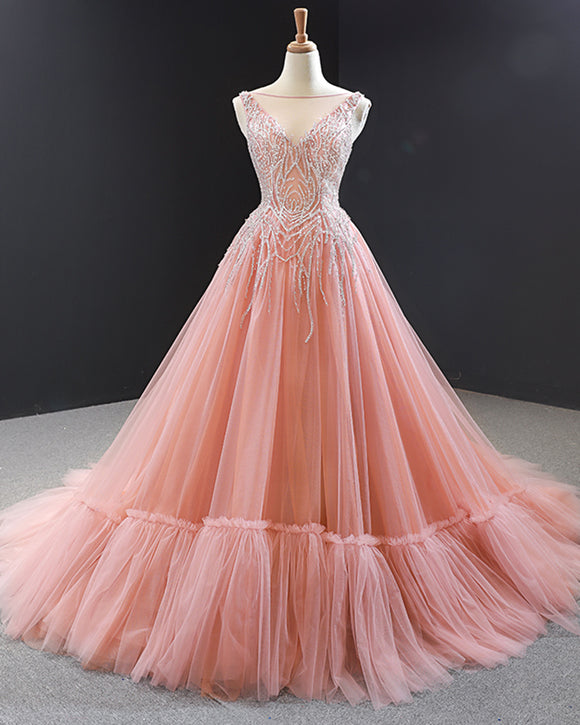 Princess Pink Ball Gown Wedding Dress Ball Goqn Quinceanera Sweet 16 Prom Gown PL0607