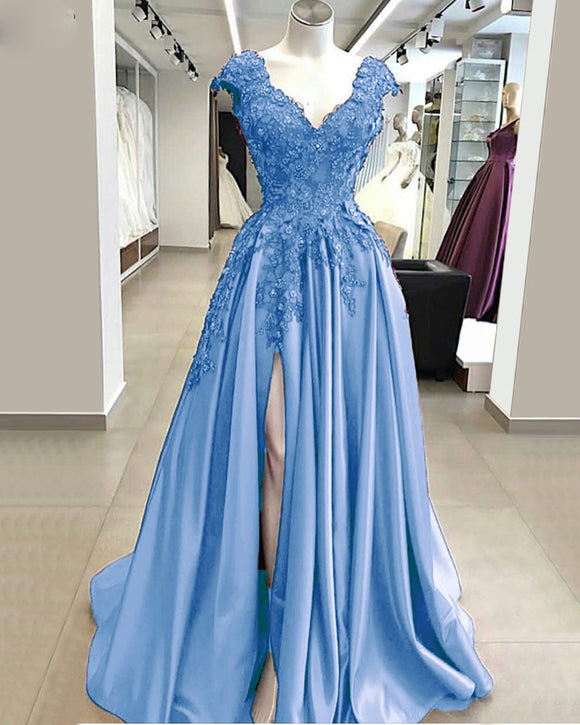 Siaoryne Elegant Cap Sleeves lace Prom Dress 2020 Long with Slit Evening Gowns PL6952