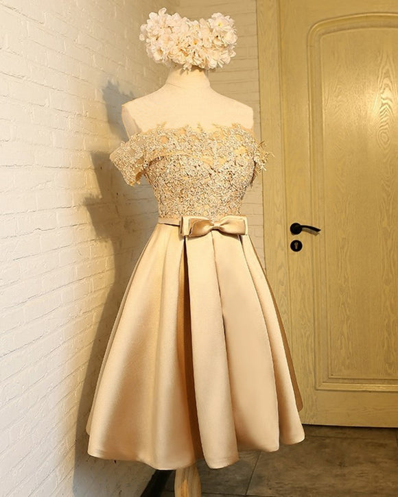 Champagne Short Prom Dresses Off the Shoulder Satin and Lace Homecoming Graduation Gown for Girls SP10118