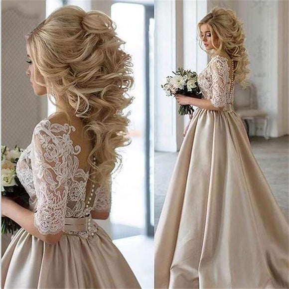 LP587 Champagne Wedding Dress with Half Sleeves
