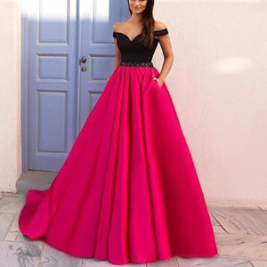 Elegant Off the Shoulder Black and Hot Pink Prom Dresses,Girls Senior Prom Gown,Formal Gowns 2018