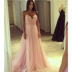 Pink Spaghetti Straps A Line Tulle Prom Dress Long Formal Gown
