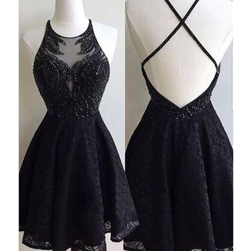 89779c03a10 LP578 Lovely Halter Short Black Prom Dress Sequins Lace Party Gown  Homecoming Dresses 2018 ...
