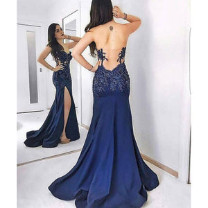 Royal Blue Sexy Split Lace Appliques Long Evening Formal Gowns 2018 Prom Gown