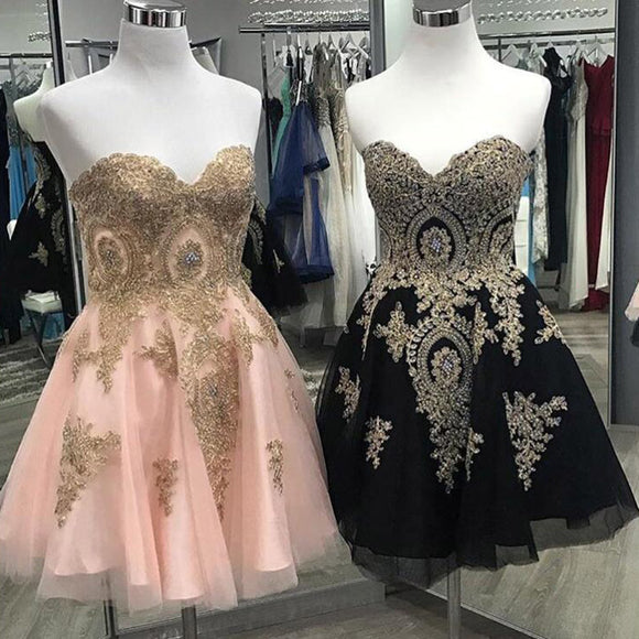 LP02147 Sweetheart  Gold Lace Short Homing Dresses Graduation Dress Short Prom Dresses