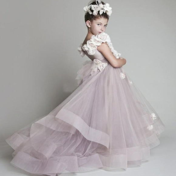 lovely handmade flowers Flower girl dress,little girls evening party gowns,first communion Dress