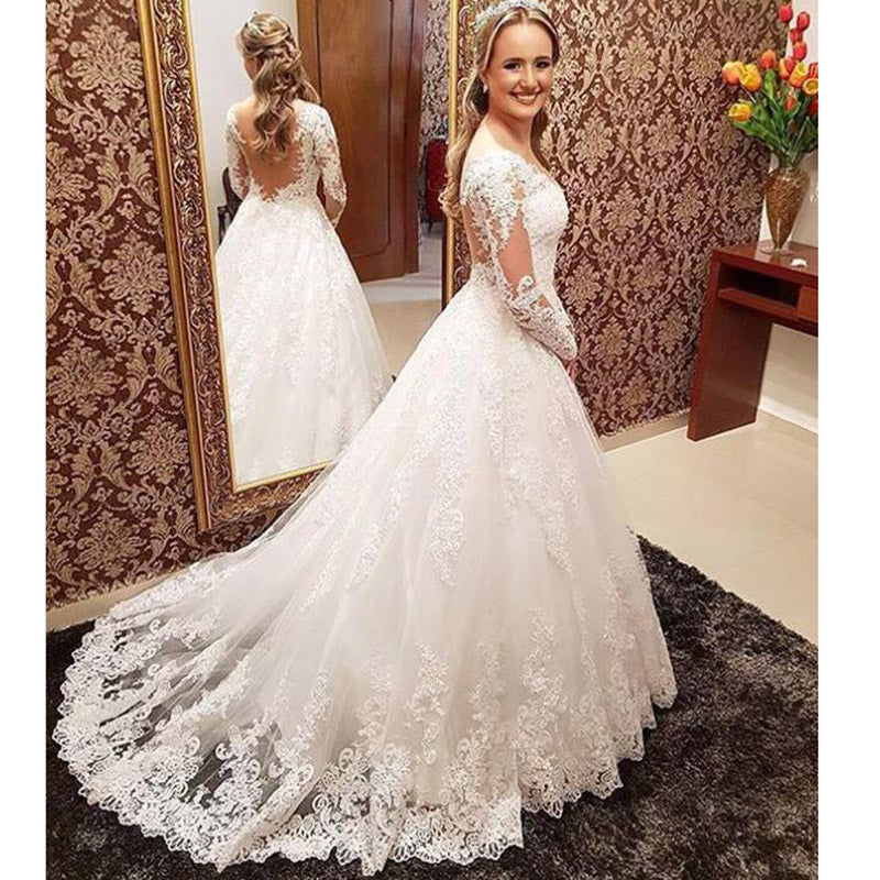 021a2bbcadc0b2 WD574 Vintage Wedding Dresses Long Sleeves 2018,Lace Bride Gown Court Train  Custom Made ...