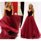 Gorgeous Burgundy A Line Long Prom Dresses Velvet Sweetheart Party Gowns,Organza Evening Formal Gown  LP852
