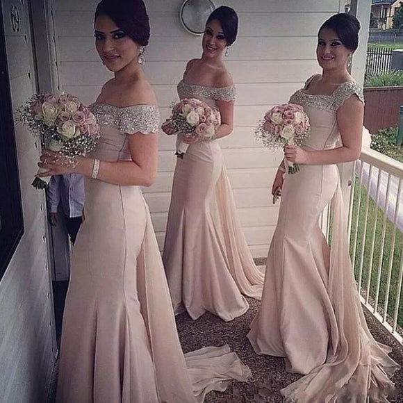 LP5874 Long Bridesmaid Dresses  vestido madrinha Wedding Party Gown Mermaid satin