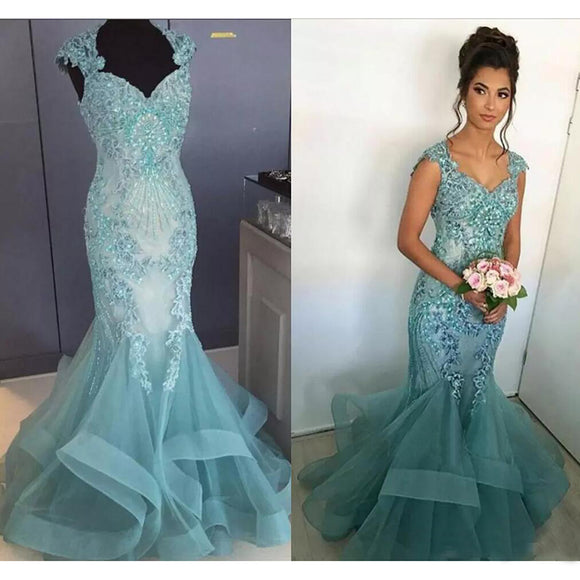 Wd5698 Mermaid Wedding Dresses Lace Aqua Blue Fitted And Flare Bridal Gown 2018 Women Formal Gowns