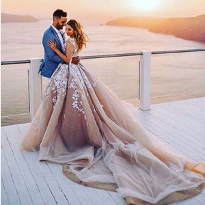 650b77a47745 WD568 Lace V Back Princess Ball Gown Wedding Dress Champagne/ Ivory Bridal  Gowns