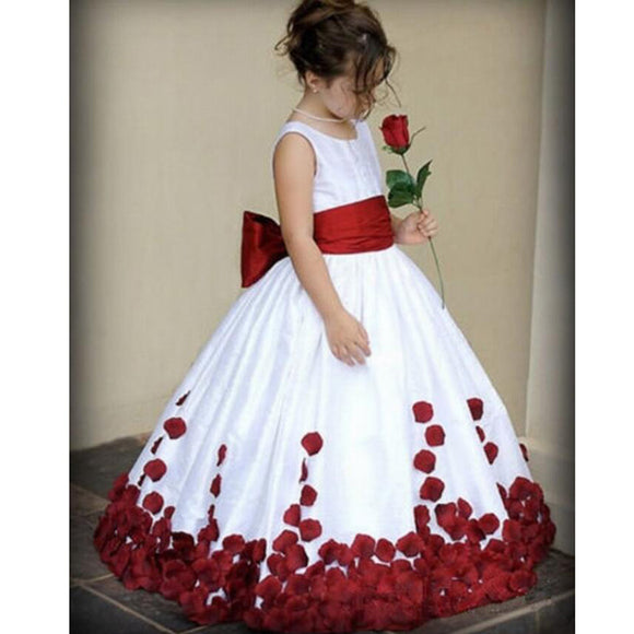 LP2365 O Neck White Flower Girl Dress with Red Petal First Communion Gown little Girl Evening Dress