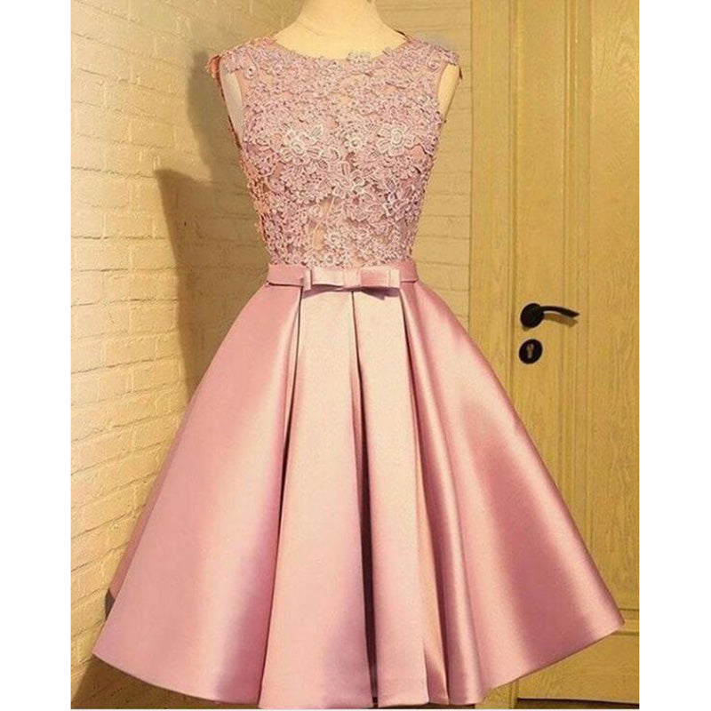 c9d749092 Lovely Chic 2018 Quinceanera dama dress Pink Short A Line Formal Gowns for  Girls