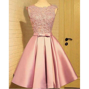 Lovely Chic 2018 Quinceanera dama dress Pink Short A Line Formal Gowns for Girls ,Short Dress for Homecoming Junior Prom