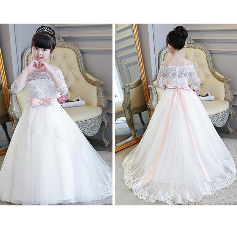 6187cb2d LP2695 Off the Shoulder Lace Flower Girl Dress Long Sleeves Little Girl  Wedding Gown first communion ...