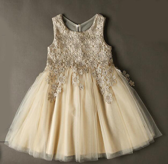 SP2365 Cute Lace Appliqued Champagne Pink Flower Girl Dress,Child Birthday party Gown Knee Length,Ball Gown Communion Gown