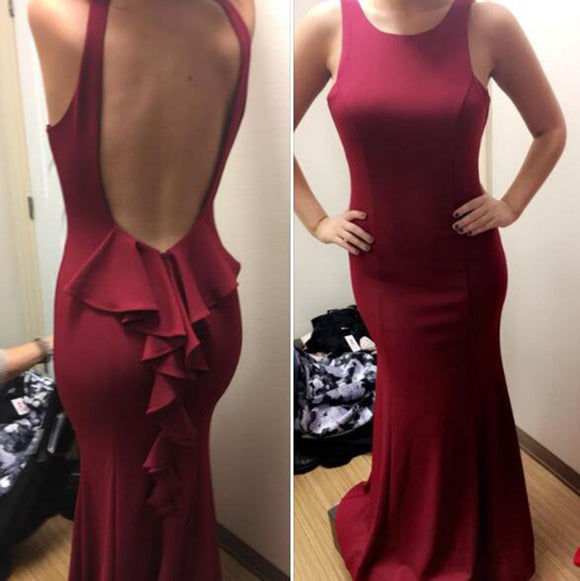 LP5556 Scoop Neck Spandex Jersey Burgundy Evening Dress Long Fitted Gown Women Sexy Formal Dresses 2018
