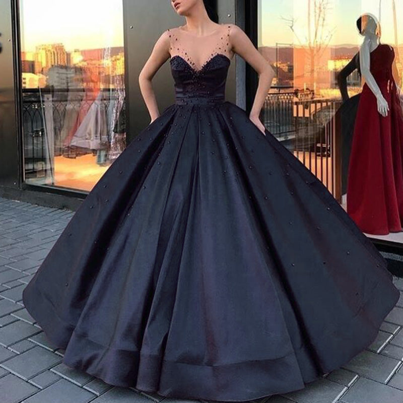 Wd6874 Scoop Neck Ball Gown Wedding Dress Satin Bridal Engagement