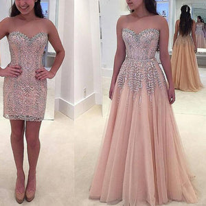 LP3362 Sweetheart Beading Two Pieces Prom Dress 2018 one Dress Two Style Attachable Train Formal Gown 2018