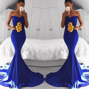 LP2300 Sexy Royal Blue Prom Gown Evening Party Dress Mermaid Sweetheart Party Gown 2018
