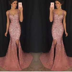 LP3069 Sexy Split Mermaid Prom Dresses 2018 Heavy Beaded Crystal Long Formal Evening Gowns abendkleider