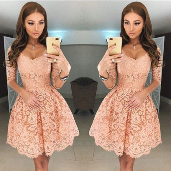 SP2597 Short Prom Dress Lace Party Gown with Long Sleeves Homecoming Dress 2018 Vestido De Fiesta Curto