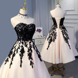 LP3373 Tea Length Champagne and Black Lace Wedding Party Gown Formal Prom Dress Short 2018