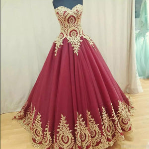 Wd5512 Ball Gown Burgundy Wedding Dress Gold Appliqued Lace Bridal