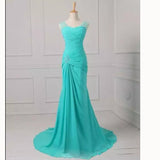 Turquoise Blue Mermaid Chiffon Formal Evening Gown with Beaded Pleated mother of the bride dresses 2018 LP5518
