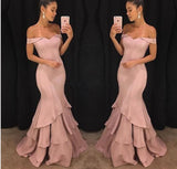 Off the Shoulder Pink Prom Dresses Mermaid Evening Long Gown for Women robe de soiree longue
