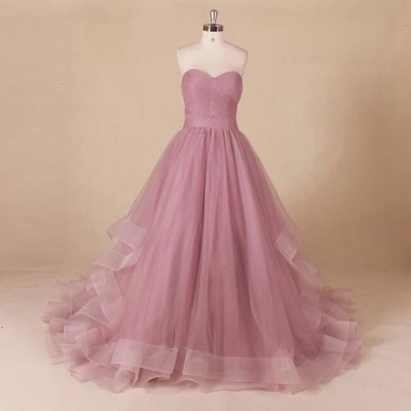 Perfect  robe de bal longue Sweetheart  Long Tulle Prom Dress A Line wedding Dresses