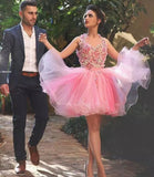 Short Pink Prom Dress Halter hand made flowers homecoming dresses 2018 cocktail gown SP5530