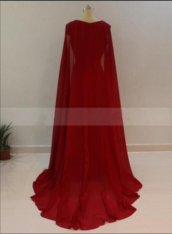 38a644d524c2 ... Women Burgundy/Red Long Evening Dress with Cape Arabic Formal Gown  Mermaid Gown 2018 LP5570 ...