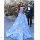Dreamy Custom made Floral Lace A Line Wedding Dresses Princess Off the Shoulder Sky Blue Girls Formal prom Gown LP5580