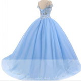 Trendy Off the Shoulder Baby Blue Ball Gown Quinceaneara Dresses Sweet 16 Party Debutante Gowns