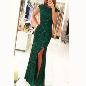 Trendy Cap Sleeves Sexy Slit Glitter Sequins Prom Dress Green Formal Party Gown galajurken 2018