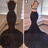 Fashion halter Black Dress Party Evening Long Formal Prom Gown Sexy Backless