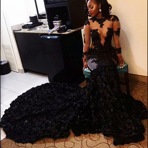 Stunning Black African Prom Dresses Mermaid Illusion Flowers Long Sleeves Evening Dress Long Sweep Train arabic dresses dubai Party Gowns