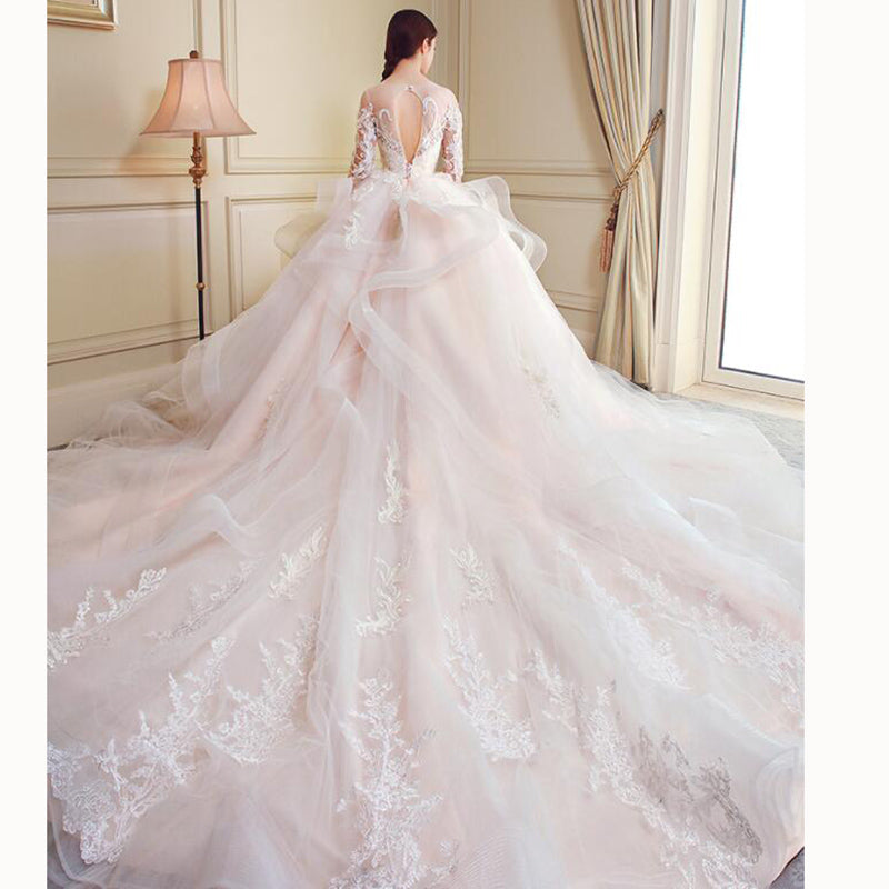 f7e25ef1838 ... Gorgeous Ball Gown Poofy Wedding Gown Lace Bridal Dresses 2018 Vestido  De Novias withSleeves ...
